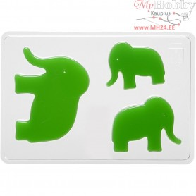 Casting Mould, size 6+8+10 cm, outer size 14,9x22 cm, elephant, 1pc, depth 9 mm