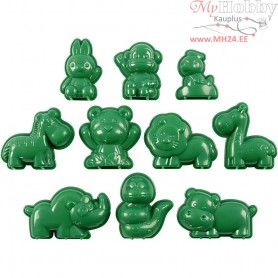 Casting Mould, size 4-7 cm, animals, 10mixed