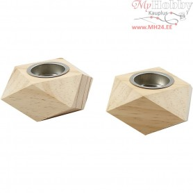 Tea Light Candle Holder, size 9x9x5 cm, hole size 4 cm, pine, 2pcs