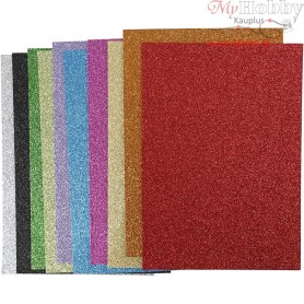 EVA Foam Sheets, A4 21x30 cm, thickness 2 mm, asstd. colours, glitter, 10mixed sheets