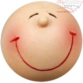 Smiley Head, D: 20 mm, polymer clay, 25pcs