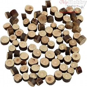 Wooden Discs, D: 7-10 mm, thickness 4-5 mm, 230g