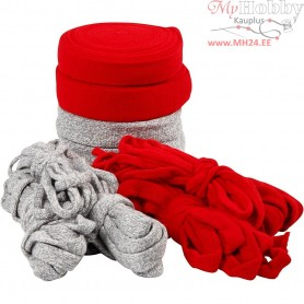 Knitted Tube, W: 10-40 mm, grey, red, Christmas, 50m
