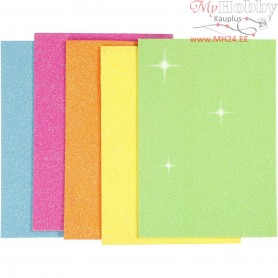 EVA Foam Sheets, A5 15x21 cm, thickness 2 mm, asstd. colours, glitter - neon, 5sheets