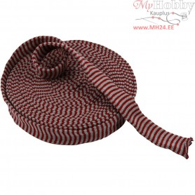 Knitted Tube, W: 40 mm, antique red/grey, 10m