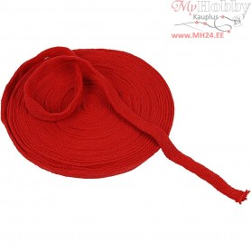 Knitted Tube, W: 15 mm, christmas red, 10m
