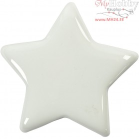 Star, size 7,5x7,5 cm, thickness 10 mm, white, 20pcs