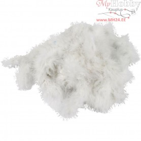Feather Boa, W: 20-30 mm, white, 10m