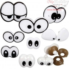Funny Eyes - Assortment, size 2-3 cm, with fastener, 9mixed