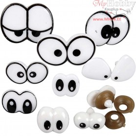 Funny Eyes, size 2-3 cm, with fastener, 200mixed