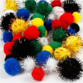 Pompoms, D: 15+20 mm, asstd. colours, 48mixed