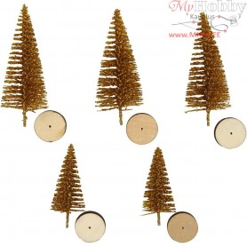 Christmas Spruce Trees, H: 40+60 mm, gold, 5pcs