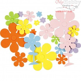 EVA Foam Flowers, size 10-60 mm, thickness 2 mm, asstd colours, flowers, 100mixed