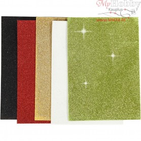 EVA Foam Sheets, A5 15x21 cm, thickness 2 mm, asstd. colours, glitter, 5sheets