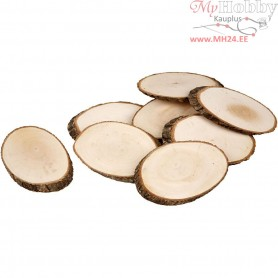 Wooden Discs, approx. 11x7,5 cm, thickness 8 mm, 12pcs