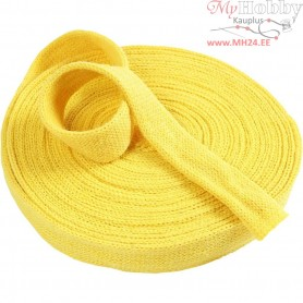Knitted Tube, W: 30 mm, yellow, 10m