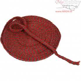 Knitted Tube, W: 10 mm, christmas red/grey, 10m