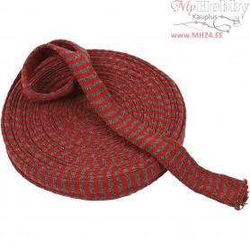 Knitted Tube, W: 30 mm, christmas red/grey, 10m
