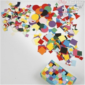 Card Mosaics, size 10+15+20 mm, asstd colours, 1asstment