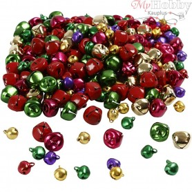 Bells, D: 10+14 mm, metallic colours, 320mixed