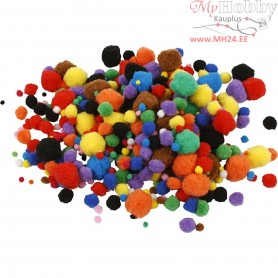 Pompoms, D: 5-40 mm, approx. 150 pc, asstd colours, 42g