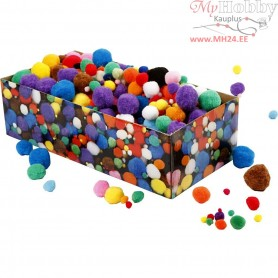 Pompoms, D: 5-40 mm, approx. 720 pc, asstd colours, 220g