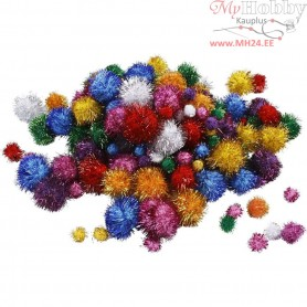 Pompoms, D: 15-40 mm, approx. 75 pc, glitter colours, glitter, 62g