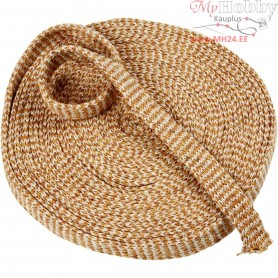 Knitted Tube, W: 20 mm, curryyellow/off-white, 10m