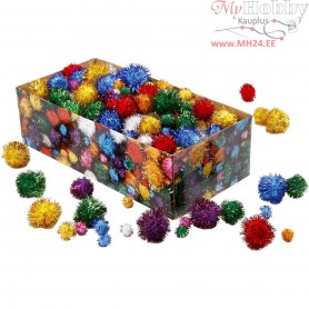 Pompoms, D: 15-40 mm, approx. 400 pc, glitter colours, glitter, 400g