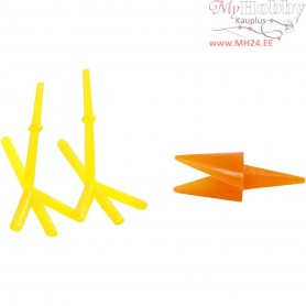 Chicken Beaks and Feet, L: 30+37 mm, H: 28 mm, yellow, orange, 8sets