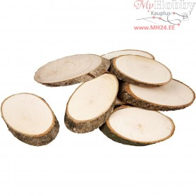 Wooden Discs, approx. 7,5x4,5 cm, thickness 8 mm, 20pcs