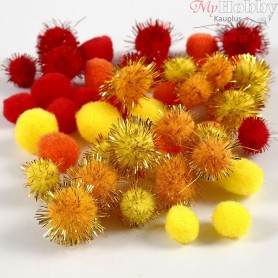 Pompoms, D: 15+20 mm, yellow, orange, red, 48mixed