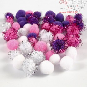Pompoms, D: 15+20 mm, white, purple, light red, 48mixed