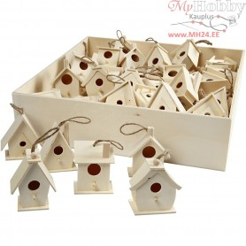 Bird House, H: 7 cm, poplar wood, 60pcs