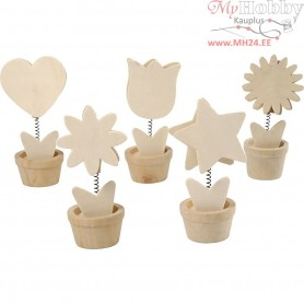 Memo Holders, H: 10 cm, D: 5 cm, plywood, 10pcs