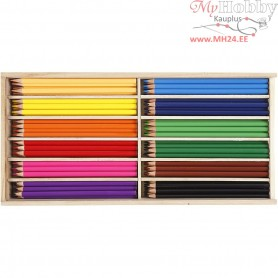 Colouring Pencils, lead: 3 mm, asstd colours, 144pcs