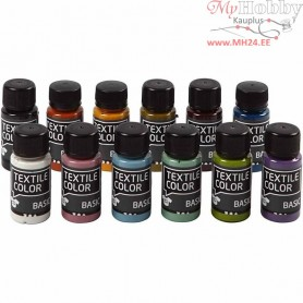 Textile Color Paint, asstd colours, trend colors, 12x50ml