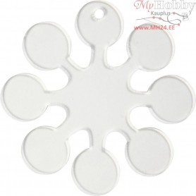 Acrylic ornaments, snow crystal, H: 7 cm, thickness 2 mm, 5pcs