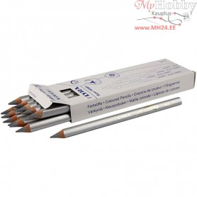 Super Ferby 1 colouring pencils, lead: 6,25 mm, L: 18 cm, silver, silver, 12pcs