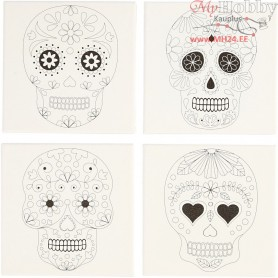 Stretched Canvas With Print, size 20x20 cm, depth 1,5 cm, skulls, 4pcs, 280 g