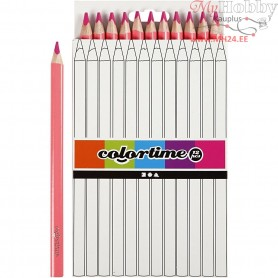 Colortime colouring pencils, lead: 5 mm, pink, Jumbo, 12pcs