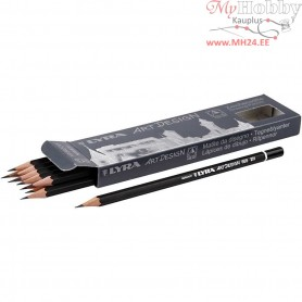 Art Design Drawing Pencils, D: 6,9 mm, lead: 1,8 mm, Hardness: 2H, 12pcs