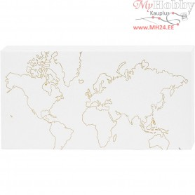 Canvas with Gold Motifs for Watercolor, W: 25,4 cm, H: 12,7 cm, world map, 1pc, depth 2,54 cm