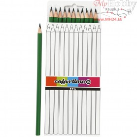 Colortime colouring pencils, lead: 3 mm, L: 17 cm, green, basic, 12pcs