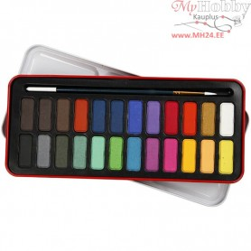 Watercolor Paint Set, size 12x30 mm, asstd colours, 24colours