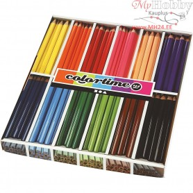 Colortime colouring pencils, lead: 5 mm, asstd colours, Jumbo, 144pcs