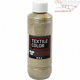 Textile Color Paint, gold, glitter, 250ml