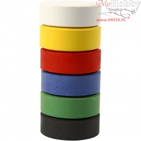 Watercolour, D: 44 mm, H: 16 mm, primary colours, refill, 6pcs