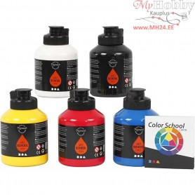 Pigment Art School Paint, primary colours, 5x500ml