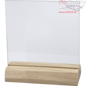 Glass Plate with Wooden Holder, size 7,5x7,5 cm, thickness 28 mm, 10sets
